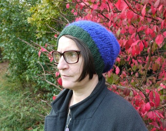 Blue and green hand knit hat wool blend