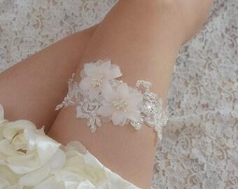 lace bridal garter, wedding garter, bride garter,  lace garter , beaded floral garter,light pink rosette garter,garters for wedding