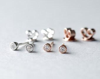 3mm Round Bezel Stud Earrings, 925 Sterling Silver, Tiny Stud Earrings, Minimalist Earrings, Dainty Jewelry