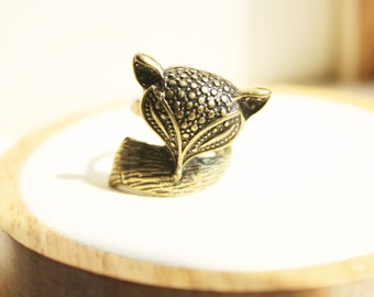 Antique Look Bronze Ring, Animal Ring, Fox Ring, Unique Statement Ring, Wraparound Ring, Bohemian Style, Gift for Her