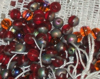 RUBY red VITRAIL glass BEADS Czech 4mm Round (50)