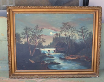 Antique Oil Painting on Board Painting of Mill in the Moonlight Large Oil Painting