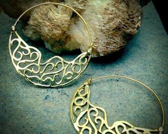 Filigree Hoop Earrings, Gold Earrings, Gypsy Earrings, Tribal Earrings, Boho Earrings, Ethnic Earrings, Tribal Belly dance Jewellery