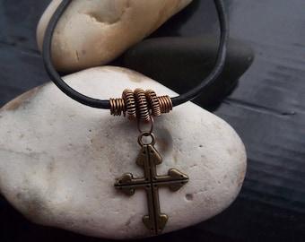 Handmade gothic cross bracelet