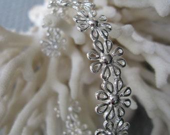 All Silver Daisy Chain Cuff Bracelet