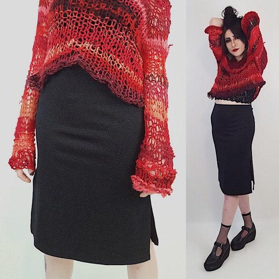 90's Black Sparkle Midi Skirt Medium - Tight Vintage Slit Up Side y2K Knee Skirt - Classic Summer Black Bodycon Classic Pencil Long Skirt