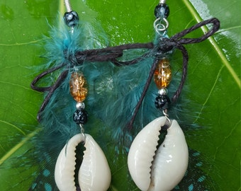 Tribal snowflake Obsidian shell earrings with guinea feathers