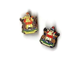 Vintage Official New Brunswick Coat Of Arms Enamel Lapel Pin Spem Reduxit Province of Canada Lot of 2 Pinbacks