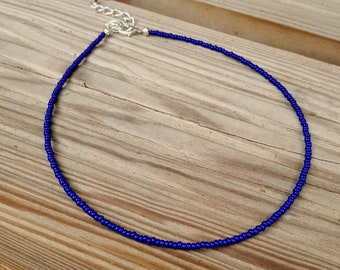 cobalt blue choker seed bead necklace lapis electric blue beach wear