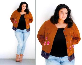 Plus size Boho Jacket Embellished High Waist Wearable Art Cotton Silk XXL Hipster Denim Jacket Coat Woman Caramel Color Short French OOAK