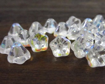 25 Crystal AB Czech Glass 8x6 mm Bell Flowers