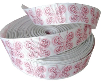 Pink GROS GRAIN Ribbon Butterfly PEACE sewing SCRAPBOOKING SCRAP card 25mm