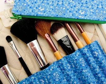 Make-up brush organiser, zipper bag set, blue makeup bag, girlfriend gift, gift for her, blue gift