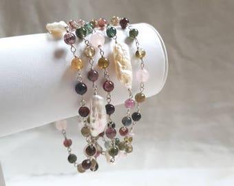 Long Gemstone Necklace, Tourmaline, Rose Quartz, Baroque Biwa Pearl, 40 in Station Neck Chain Wrap Bracelet Fine Jewelry Life Bijou