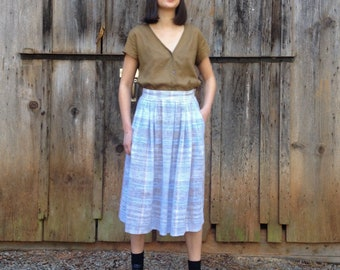 Vintage 80's High Waisted Pleated Open Weave Pastel Plaid Midi Skirt With Pockets Made in the USA w/ Italian Fabric