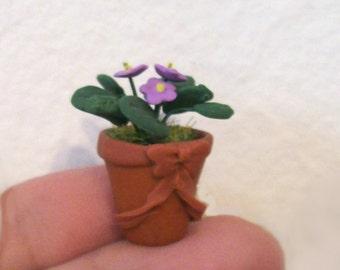 Violettes africaines lavande miniatures dans un Pot sculpté en terre cuite de Faux avec un Sweet arc maison de poupée échelle Garden décor