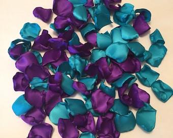 Aqua and Purple Petals/Aqua Rose Petals/Purple Rose Petals/Purple Wedding Decor/Aqua Wedding Decor/Flower Girl Petals
