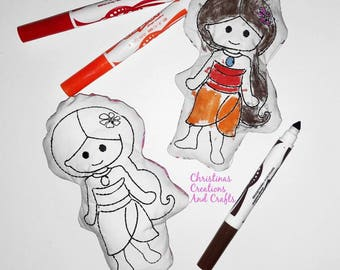 Princess inspired Coloring Doll, coloring, doodling, washable