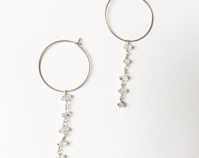 Herkimer Falls Latch Hoops - Aura Herkimer Quartz Brass Silver Dainty Earrings, Wedding Jewelry, Minimal, Crystal Earrings