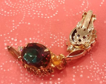 Vintage Juliana (DeLizza and Elster) Navette and Oval Color Shifting Earrings