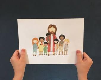 PDF Instant Download - Children of God - Illustration - 8x10 - Jesus and little Children - Wall Decor - Bible - Christian Art