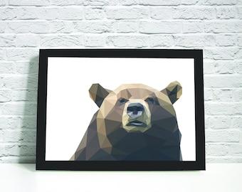 Framed A4/A3 Geometric Bear Print. Home Decor.