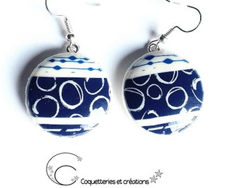 These ceramic earrings Navy Blue and white. Hand made in France