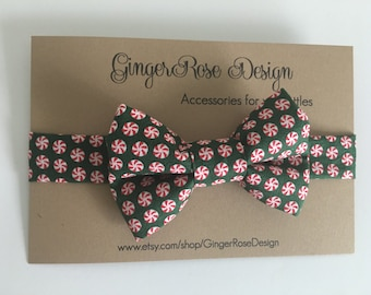 Green and Red Peppermint Bow Tie; Christmas Bow Tie;  Holiday Bow Tie; Candy Bow Tie; Toddler Bow Tie; Boy's Bow Tie; Baby Bow Tie