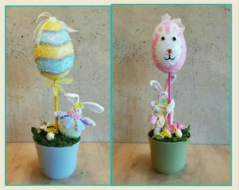 Spring Topiaries, Easter Topiaries, Spring Centerpiece, Easter Centerpiece, Spring Decor, Easter Decor, Bunny Decor, Rabbit Decor,Tablescape