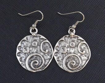 Turkish Silver Plated Earrings, Round Earrings, Boho Earrings, Costuming Jewelry, Ottoman Earrings