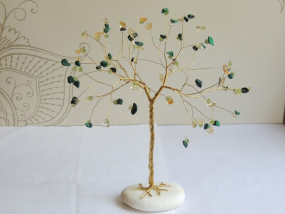 Draht-Baum Suncatcher Suncatcher Edelstein-Baum-Skulptur