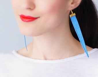 Blue Earrings Statement Earrings Lace Earrings Dangle Earrings Long Earrings Triangle Earrings Fashion Earrings For Her Gift/ TOPPO