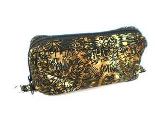 Essential Oil Case Holds 10 Bottles Essential Oil Bag Black with Brown and Gold Floral Batik