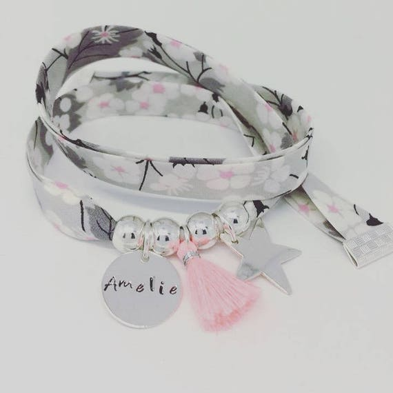 Personalized Bracelet GriGri XL Liberty with custom engraving, Silver Star and tassel by Palilo