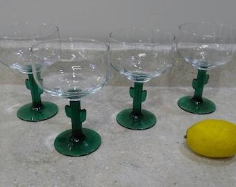Set Of 4 Libbey Cozumel Cactus Stem Margarita Glasses Green Stem South Western West Decor  Tequila Glasses Tex Mex