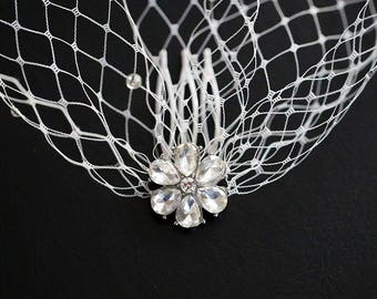 Two Crystal Rhinestone Flower Hair Combs Soft Ivory Birdcage Veil Wedding Bridal Blusher Rhinestones Scattered Over the Veil