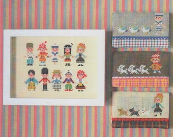 Modern Cross Stitch Pattern | Gera! Counted Cross Stitch Pattern by Kyoko Maruoka - INTERNATIONAL KIDS II