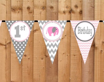 Pink Elephant Birthday Banner, Printable Birthday Party Decoration, Personalized Birthday Banner, Happy Birthday Sign, First Birthday Banner