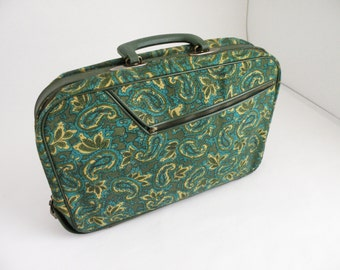 Vintage Mod Carry On Green and Blue Small Soft Side Suitcase