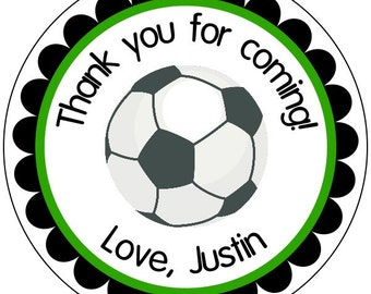 soccer party stickers, custom soccer labels, sports party stickers, soccer birthday stickers, green and black soccer stickers, 3 sizes