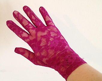 Vintage Purple Lace Gloves