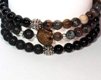 Mens Bracelet Set - Mens Onyx Bracelet - Petrified Wood Bracelet - Bracelet Set Mens - Mens Boho Bracelet - Set of 3 bracelets - Fathers Day