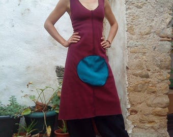 Round Turquoise Pocket plum fleece dress