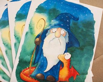 Wizard an Dragon PRINT for Kids Room, Magic illustration, Watercolor Decor, Dragon Wall Art, Dragon Nersery Art, Children Art Poster