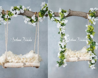 Digital Backdrop prop Set of two for newborn photography, wooden swing, newborn backdrops, digital prop