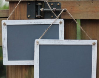 """Rustic Wedding Chalkboard Signs Hanging Set of Two, 5"""" X 7"""""""