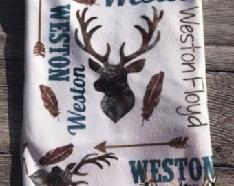 Boys watercolor personalized deer blanket, monogram swaddle blanket