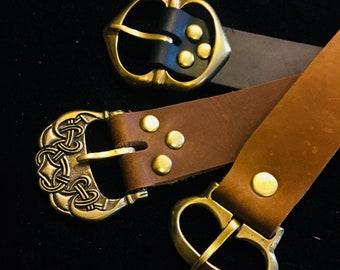"Medieval Leather Belt- 1"" wide Long belt Viking, Historical, Ren Faire Pirate Steampunk brass buckle, brown/black  SCA Garb, LARP, Ren Faire"