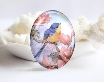 Bird Handmade Oval Photo glass Cabochons Image Glass Cover For Charm 30x40mm 18x25mm 13x18mm 10x14mm (P2366)