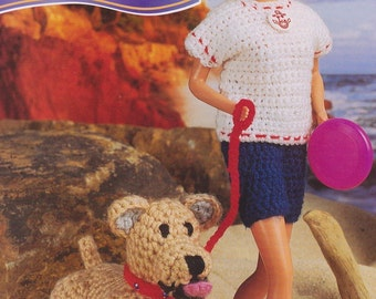 "Crochet Fashion Doll ""Walk on the Beach"" Pattern #KC0402, Intermediate Skill Level, Crochet PDF Pattern"